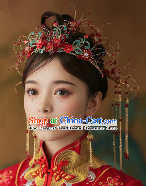 Chinese Ancient Palace Bride Phoenix Coronet Tassel Hairpins Traditional Wedding Hair Accessories for Women