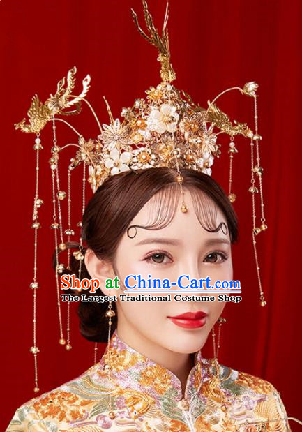 Chinese Traditional Palace Golden Tassel Phoenix Coronet Hairpins Ancient Wedding Hair Accessories for Women