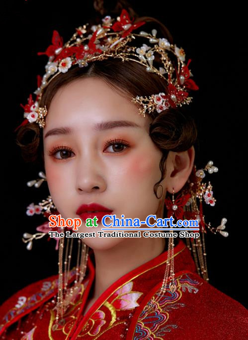 Chinese Traditional Palace Red Butterfly Tassel Phoenix Coronet Hairpins Ancient Wedding Hair Accessories for Women