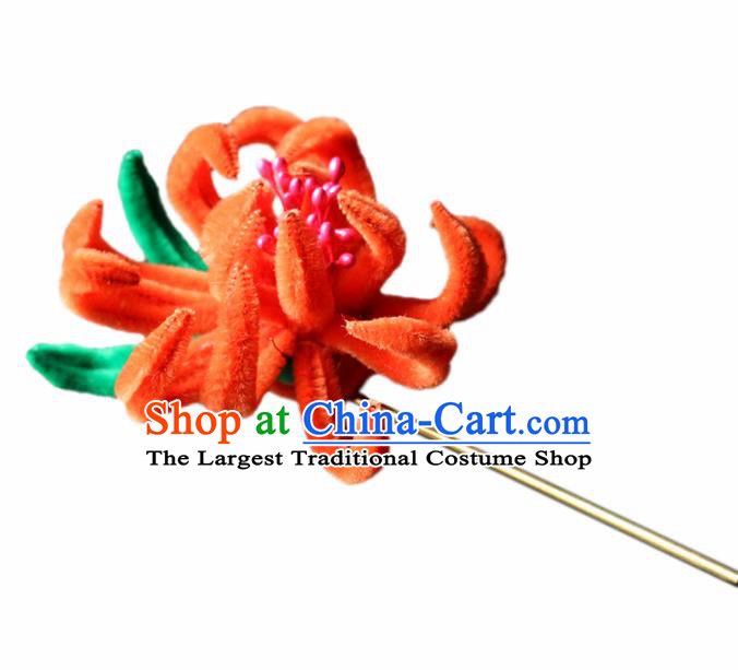 Chinese Traditional Palace Orange Velvet Flower Hairpins Ancient Wedding Hair Accessories for Women