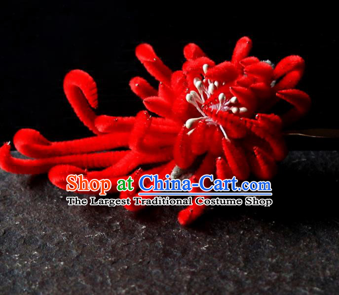 Chinese Traditional Palace Red Velvet Flower Hairpins Ancient Wedding Hair Accessories for Women