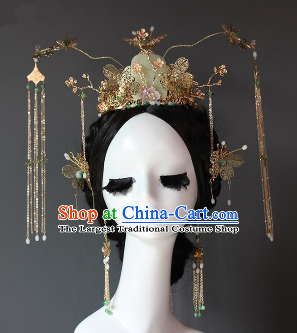 Chinese Ancient Palace Queen Jade Phoenix Coronet Hairpins Traditional Hair Accessories Headdress for Women