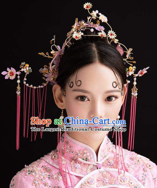 Chinese Ancient Palace Queen Purple Flowers Phoenix Coronet Hairpins Traditional Hair Accessories Headdress for Women