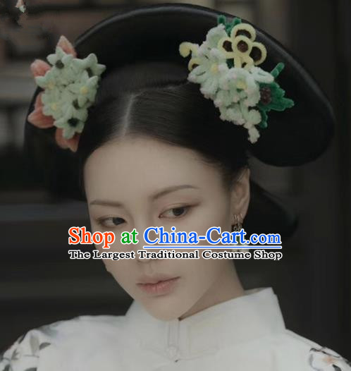 Chinese Ancient Palace Queen Green Velvet Flower Hairpins Traditional Hair Accessories Headdress for Women