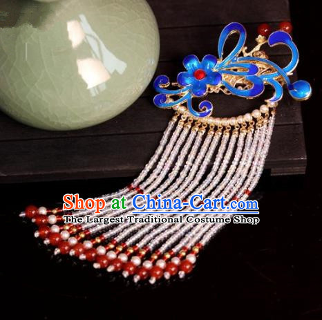 Chinese Ancient Palace Blueing Tassel Hair Claw Hairpins Traditional Hair Accessories Headdress for Women