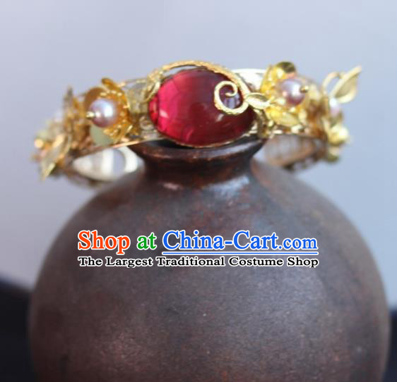 Chinese Handmade Wedding Bracelet Traditional Hanfu Coloured Glaze Bangle Accessories for Women