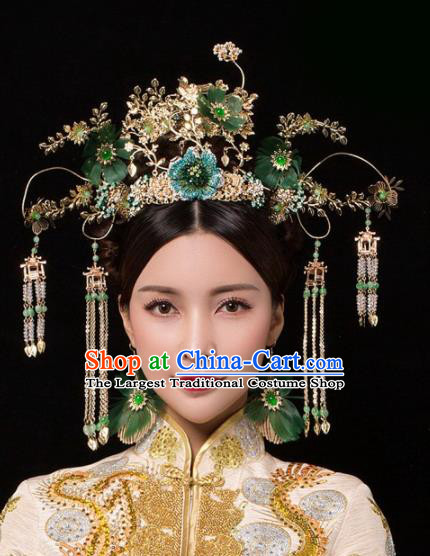 Chinese Ancient Palace Green Flowers Phoenix Coronet Hairpins Traditional Hair Accessories Headdress for Women