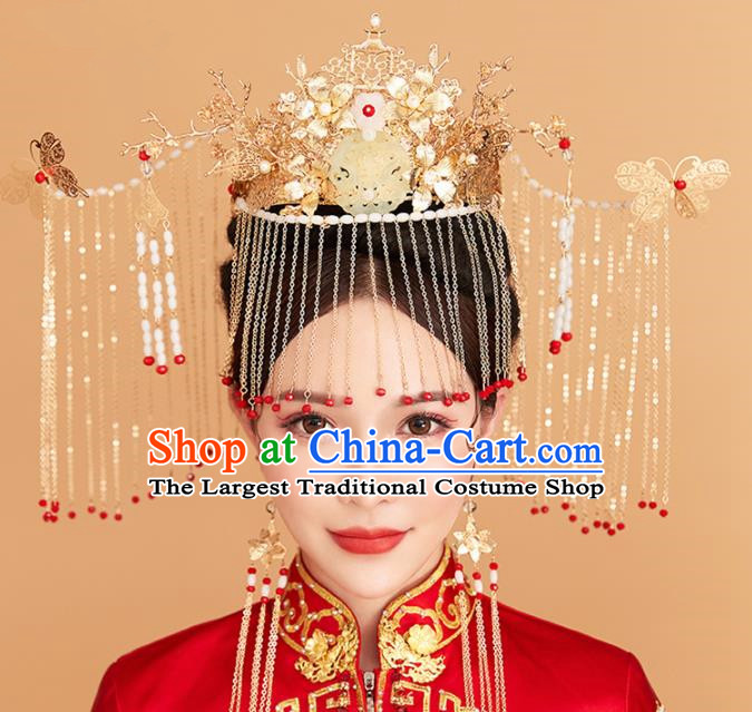 Chinese Traditional Palace Exaggerated Phoenix Coronet Hairpins Ancient Wedding Tassel Hair Accessories for Women