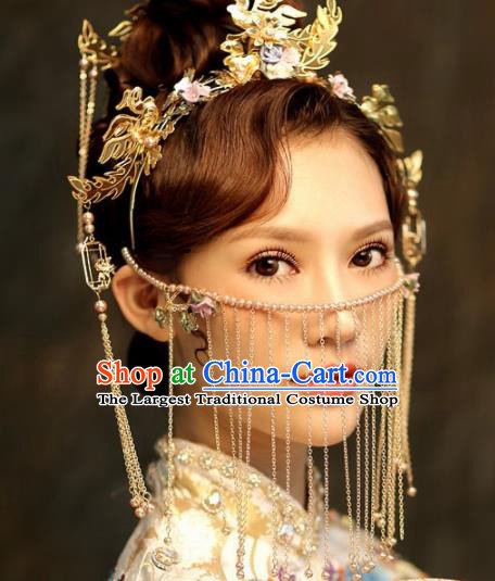 Chinese Ancient Palace Golden Crown Phoenix Hairpins Traditional Hair Accessories Headdress for Women