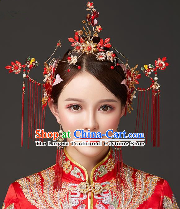 Chinese Traditional Palace Red Flowers Phoenix Coronet Hairpins Ancient Wedding Tassel Hair Accessories for Women