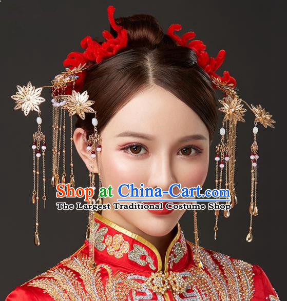 Chinese Traditional Palace Bride Hairpins Step Shake Ancient Wedding Tassel Hair Accessories for Women