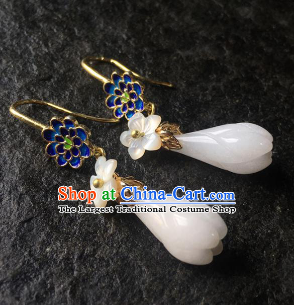 Top Grade Chinese Handmade White Mangnolia Earrings Traditional Bride Ear Accessories for Women