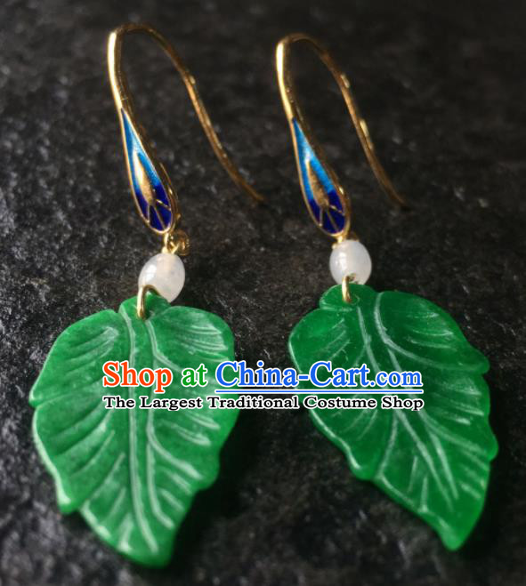 Top Grade Chinese Handmade Green Leaf Earrings Traditional Bride Ear Accessories for Women