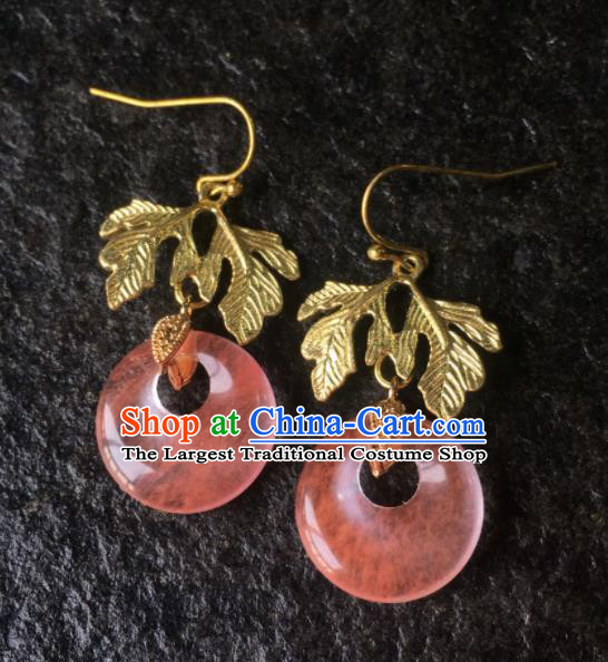 Top Grade Chinese Handmade Watermelon Crystal Earrings Traditional Bride Ear Accessories for Women