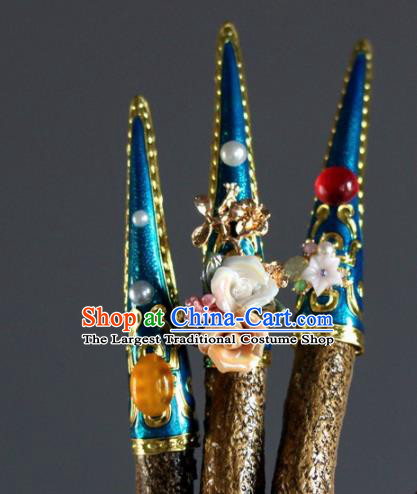 Chinese Handmade Enamel Blue Nail Wrap Traditional Ancient Palace Lady Fingerstalls for Women