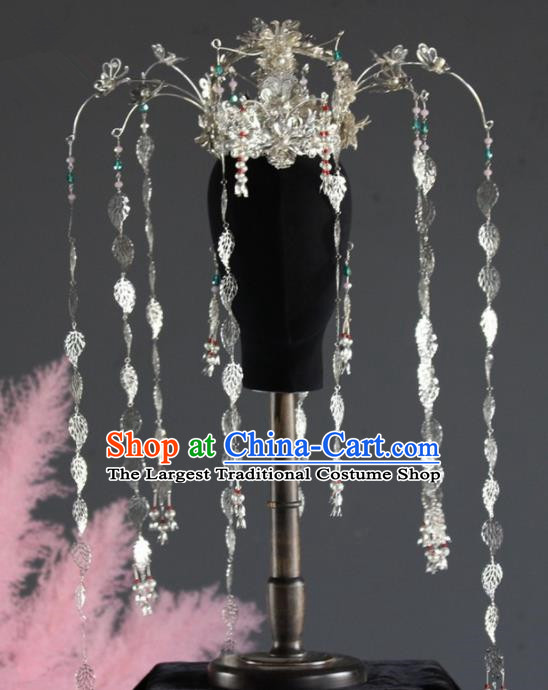 Chinese Ancient Queen Leaf Tassel Phoenix Coronet Hairpins Traditional Palace Hair Accessories Headdress for Women