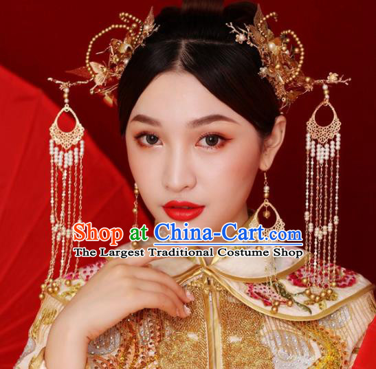 Chinese Ancient Queen Golden Tassel Hair Clasp Hairpins Traditional Palace Hair Accessories Headdress for Women
