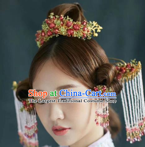Chinese Ancient Bride Pomegranate Phoenix Coronet Hairpins Traditional Hair Accessories Headdress for Women