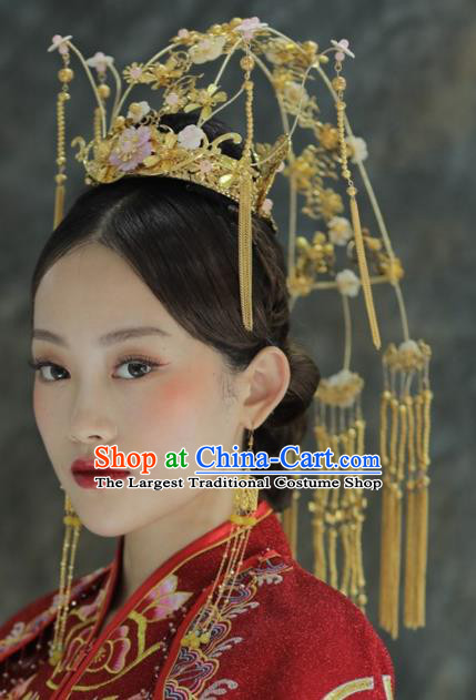 Chinese Ancient Bride Golden Tassel Phoenix Coronet Hairpins Traditional Hair Accessories Headdress for Women