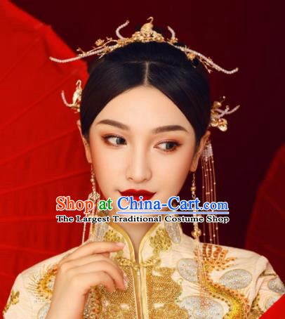 Chinese Ancient Bride Hairpins Tassel Step Shake Traditional Hair Accessories Headdress for Women