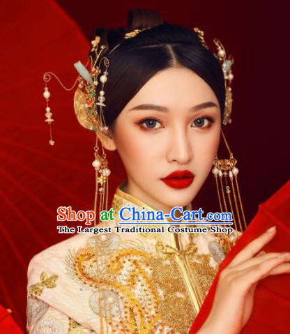 Chinese Ancient Bride Hairpins Tassel Hair Clasp Traditional Hair Accessories Headdress for Women