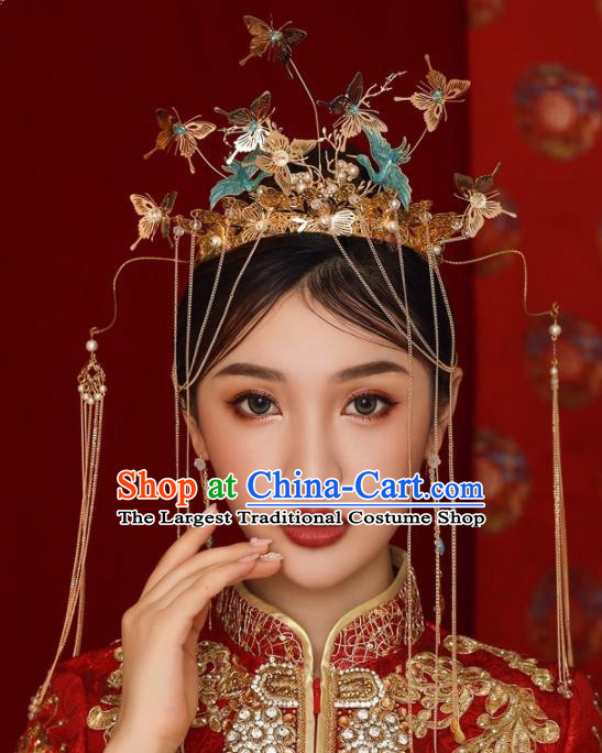 Chinese Ancient Bride Hairpins Butterfly Tassel Phoenix Coronet Traditional Hair Accessories Headdress for Women