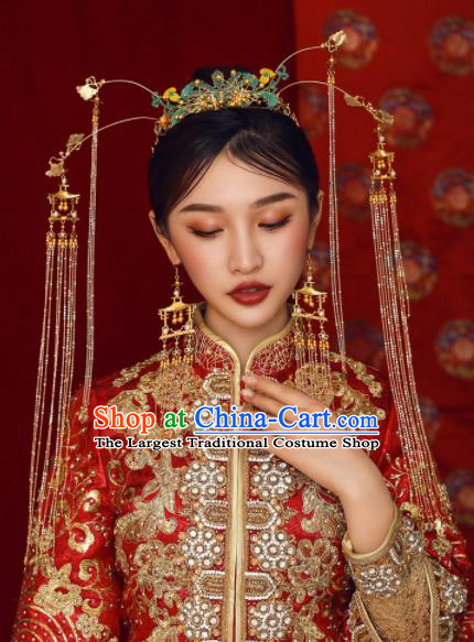 Chinese Ancient Bride Hairpins Blueing Phoenix Coronet Traditional Hair Accessories Headdress for Women