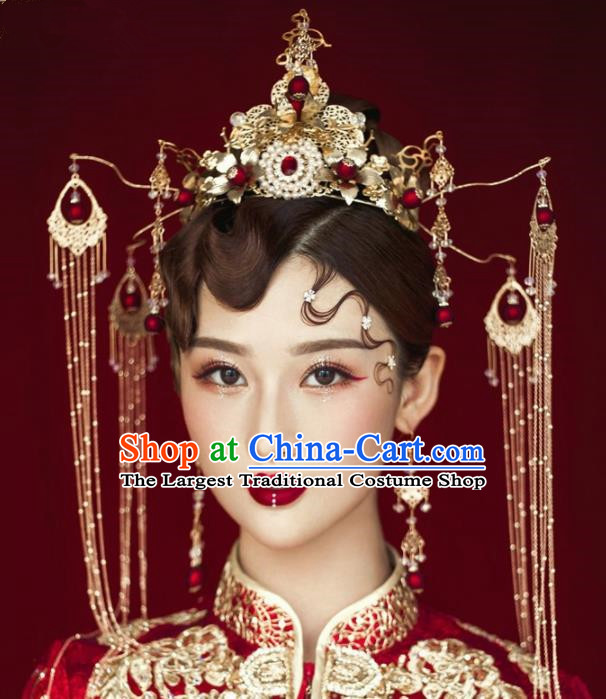 Chinese Ancient Bride Hairpins Tassel Phoenix Coronet Traditional Hair Accessories Headdress for Women