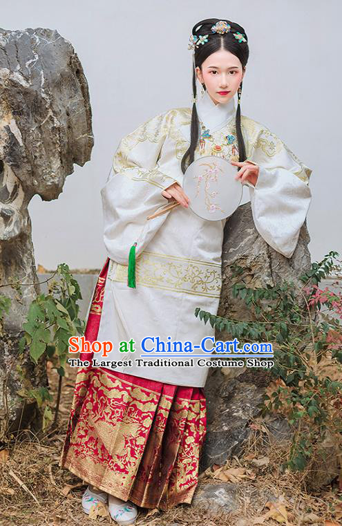 Chinese Traditional Ming Dynasty Palace Historical Costume Ancient Princess White Blouse and Red Horse Face Skirt Complete Set