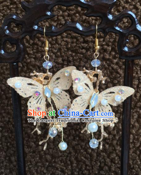 Chinese Handmade Golden Butterfly Earrings Traditional Ancient Palace Ear Accessories for Women