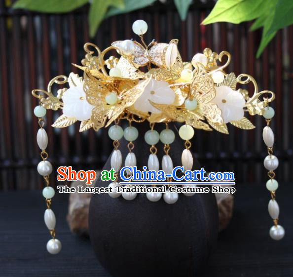 Top Grade Chinese Ancient Queen Golden Butterfly Hairpins Traditional Hair Accessories Headdress for Women