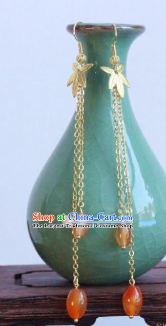 Chinese Handmade Agate Tassel Earrings Traditional Ancient Palace Ear Accessories for Women