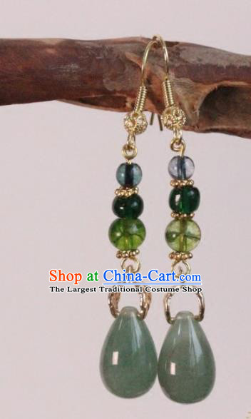 Chinese Handmade Jade Earrings Traditional Ancient Palace Ear Accessories for Women