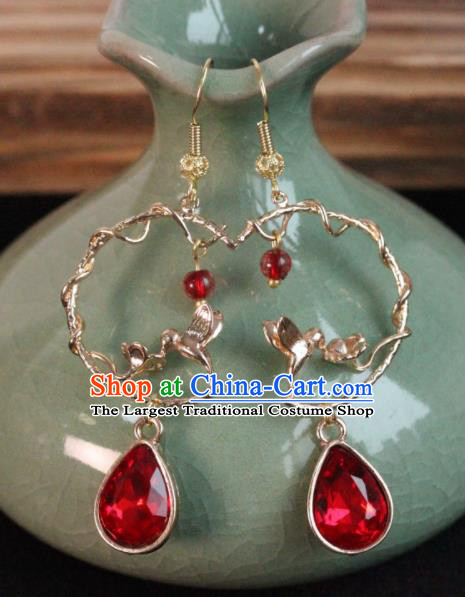 Chinese Handmade Red Crystal Earrings Traditional Ancient Palace Ear Accessories for Women