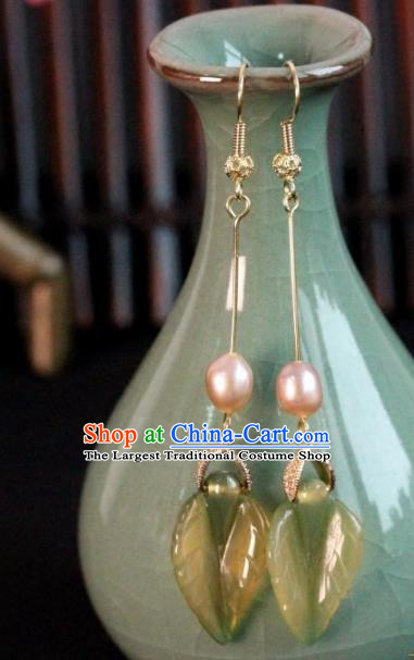 Chinese Handmade Leaf Pearl Earrings Traditional Ancient Palace Ear Accessories for Women