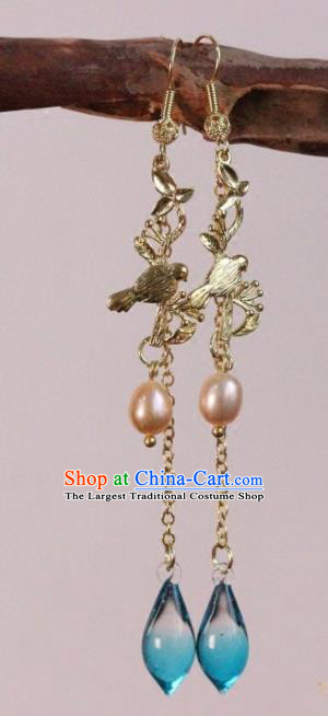 Chinese Handmade Pearl Earrings Traditional Ancient Palace Ear Accessories for Women