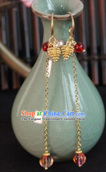 Chinese Handmade Golden Grape Earrings Traditional Ancient Palace Ear Accessories for Women