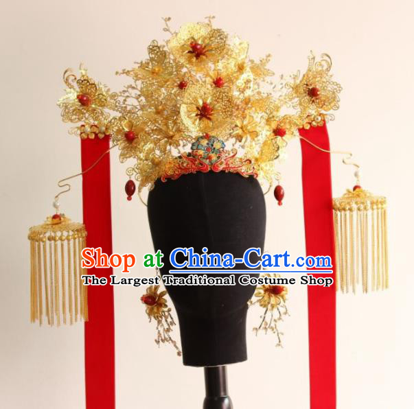 Top Grade Chinese Ancient Queen Hairpins Golden Tassel Phoenix Coronet Traditional Hair Accessories Headdress for Women
