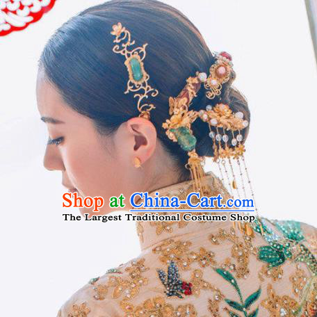 Top Grade Chinese Ancient Queen Jade Hairpins Traditional Hair Accessories Headdress for Women