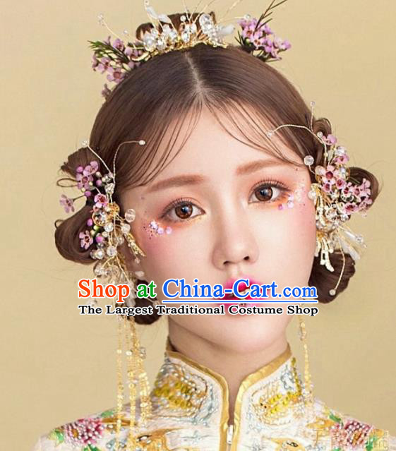 Top Grade Chinese Ancient Bride Hairpins Traditional Hair Accessories Headdress for Women