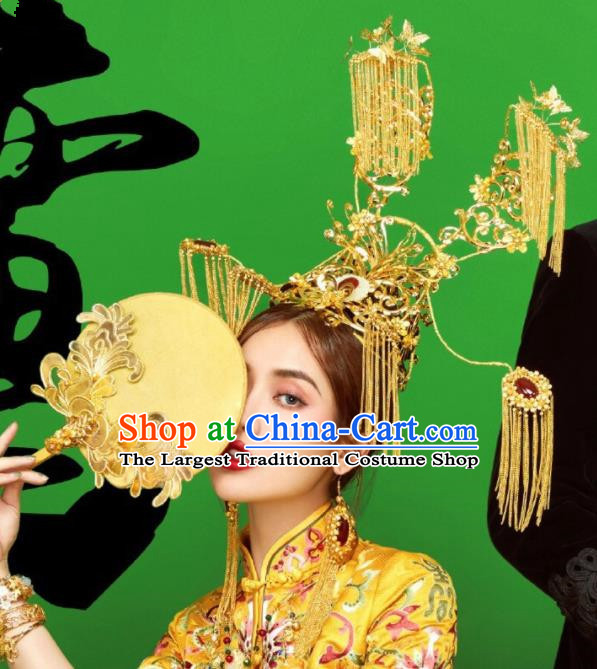 Top Grade Chinese Ancient Bride Golden Tassel Jade Phoenix Coronet Traditional Hair Accessories Headdress for Women