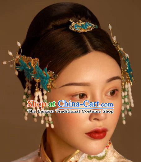 Top Grade Chinese Ancient Bride Blueing Cranes Tassel Hairpins Traditional Hair Accessories Headdress for Women