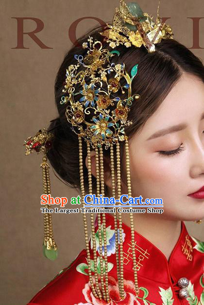 Top Grade Chinese Ancient Bride Blueing Tassel Step Shake Hairpins Traditional Hair Accessories Headdress for Women
