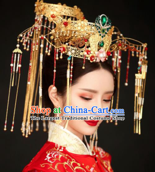 Top Grade Chinese Ancient Bride Tassel Phoenix Coronet Hairpins Traditional Hair Accessories Headdress for Women