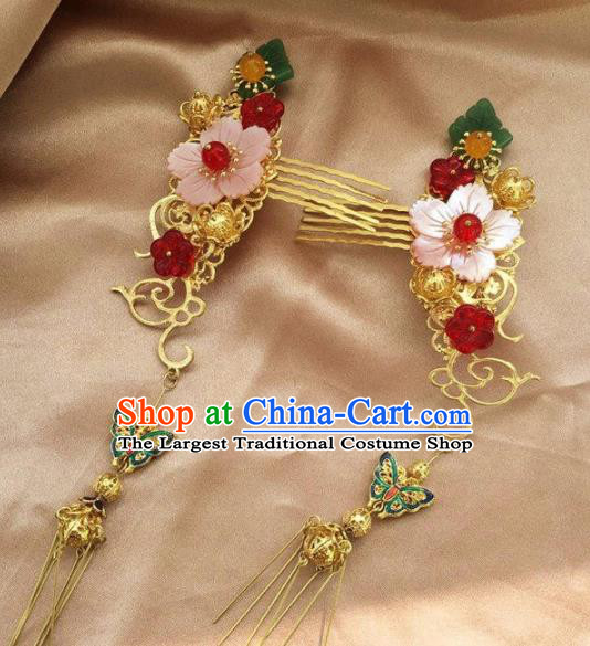 Top Grade Chinese Ancient Bride Shell Flower Hair Combs Traditional Hair Accessories Headdress for Women