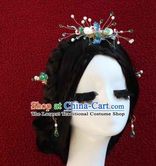 Top Grade Chinese Ancient Bride Wedding Cloisonne Hairpins Traditional Hair Accessories Headdress for Women