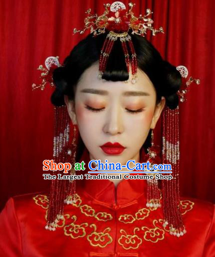 Top Grade Chinese Ancient Bride Phoenix Coronet Hair Combs Traditional Hair Accessories Headdress for Women