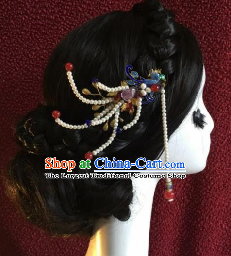 Top Grade Chinese Ancient Bride Wedding Cloisonne Phoenix Hairpins Tassel Step Shake Traditional Hair Accessories Headdress for Women