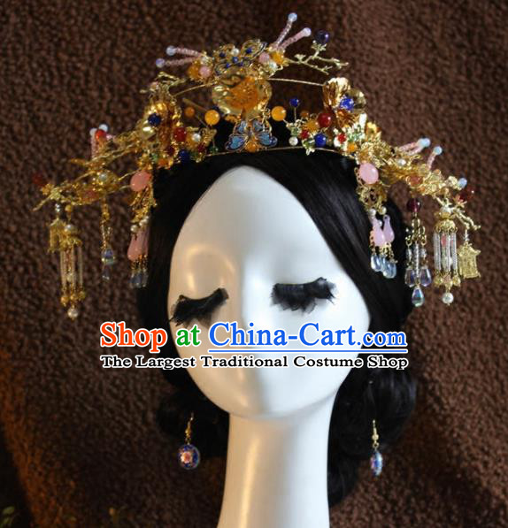 Top Grade Chinese Ancient Bride Wedding Phoenix Coronet Hairpins Traditional Hair Accessories Headdress for Women