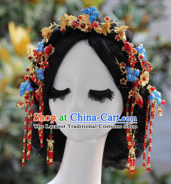 Top Grade Chinese Ancient Bride Wedding Blueing Butterfly Hair Comb Hairpins Traditional Hair Accessories Headdress for Women